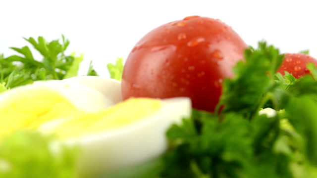 stockvideo's en b-roll-footage met onions, boiled eggs, lettuce, tomatoes, parsley - venkel
