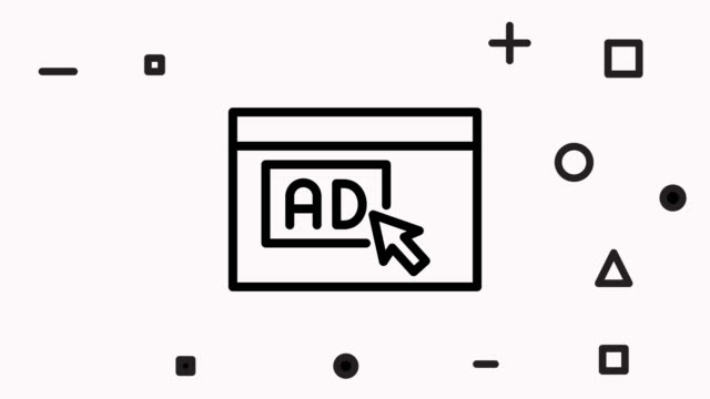 online advertising line icon animation - digital marketing stock videos & royalty-free footage