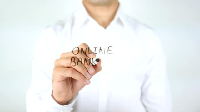 Online Banking, Man Writing on Glass video
