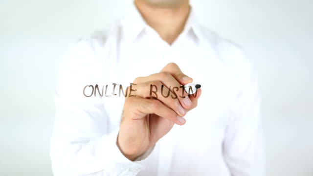Online Business, Man Writing on Glass video