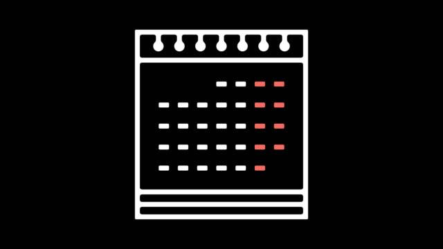 online-kalender linie symbol animation mit alpha - kalender icon stock-videos und b-roll-filmmaterial