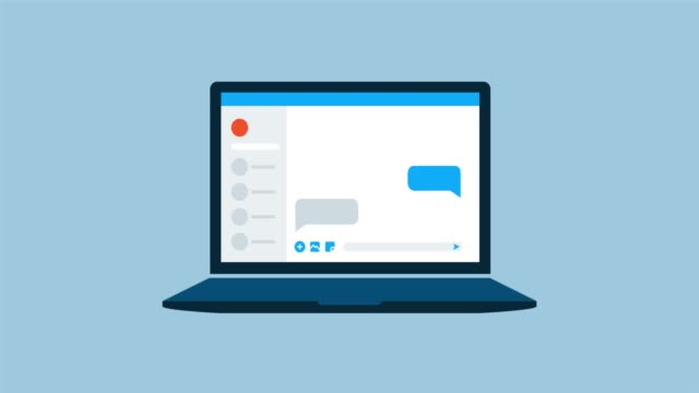 Online chat on a laptop