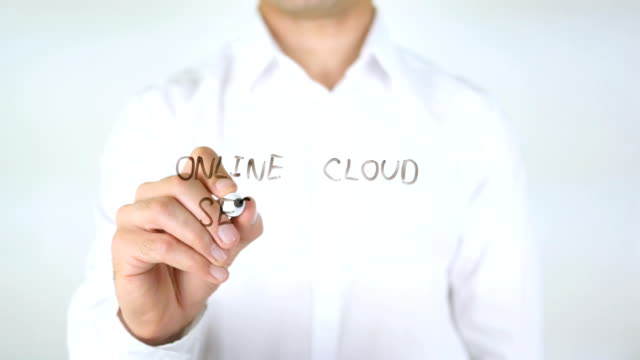 Online Cloud Security, Man Writing on Glass video