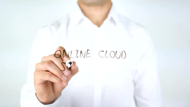 Online Cloud Solution, Man Writing on Glass video