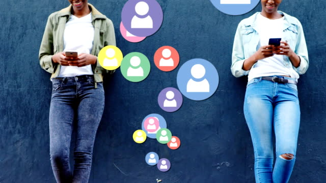 online community and network over people with smartphone. - rappresentazione umana video stock e b–roll