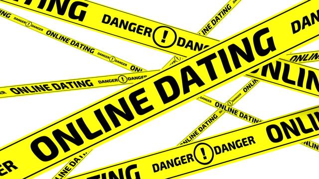 online-dating. gefahr. gelbe warnbändern - online dating stock-videos und b-roll-filmmaterial