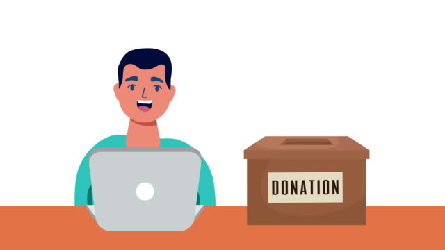online donation campaign for covid19 with man using laptop video