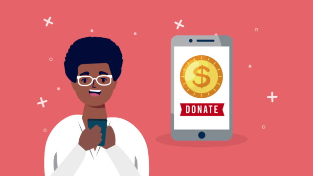 online donation campaign for covid19 with man using smartphone video