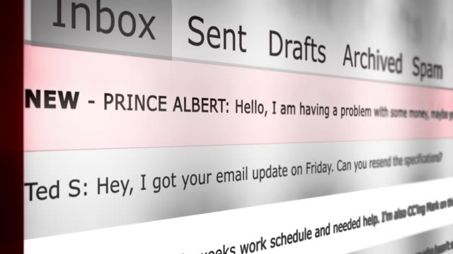 Online Email Interface Animation New Message Series - Foreign Prince Scam Email Version - vídeo