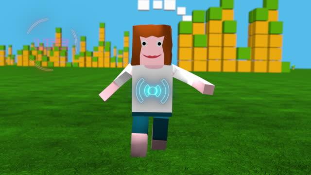 Online game avatar running through block game landscape video