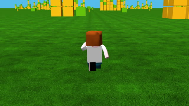 Online game character running through block styled 3D landscape