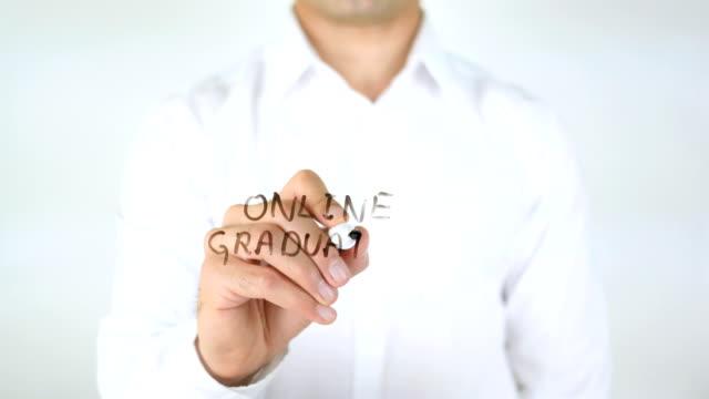 Online Graduation, Man Writing on Glass video