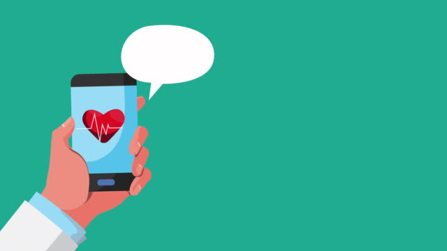online health technology with smartphone animation