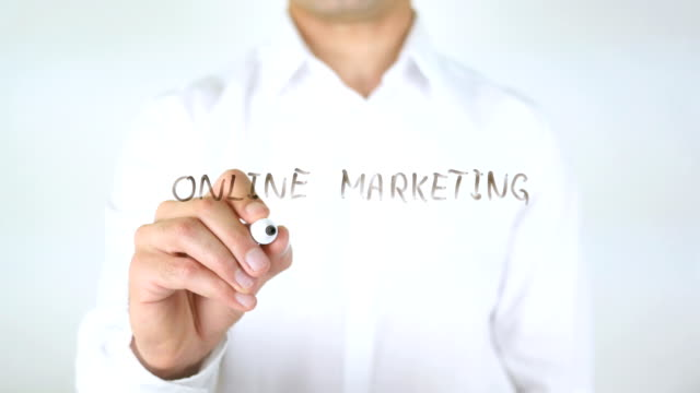 Online Marketing Strategy, Man Writing on Glass video