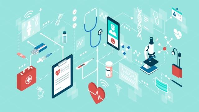 オンライン医療支援とヘルスケア - アイコン点の映像素材/bロール