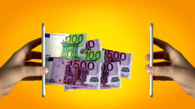 Online Money Transfer - 4K Resolution Euro, Currency, Internet, Sending, Receiving electronic banking stock videos & royalty-free footage