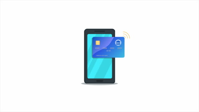 Online money transfer, nfc payment processing with mobile app. Digital wallet. Flat smartphone with credit card and pay button isolated on white background. Animation. Alpha channel.