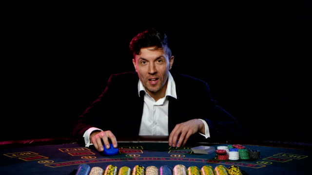 Online poker player winning the tournament. Close up video