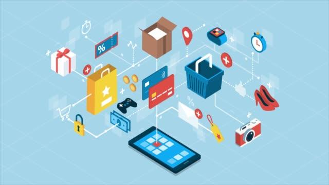 vídeos de stock e filmes b-roll de online shopping and business - shop icon
