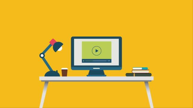 Online shopping flat design animation