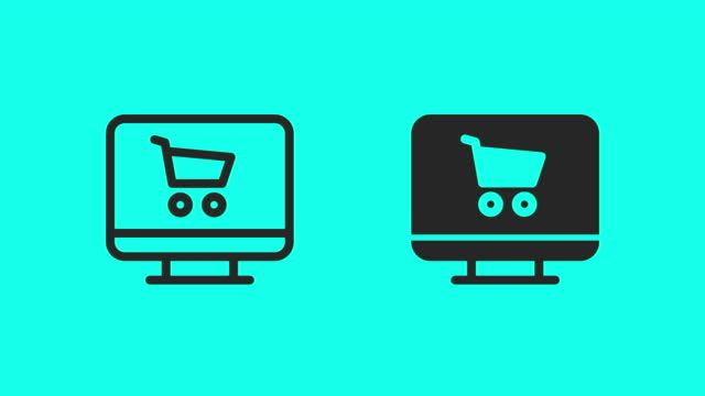 Online Shopping on Desktop Icons - Vector Animate