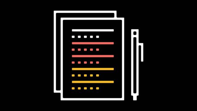 vídeos de stock, filmes e b-roll de pesquisas on-line linha ícone animação com alfa - questionário