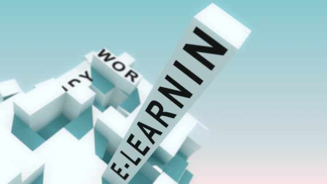 Online Training words animated with cubes Transformative 3d cubes with all kinds of different terms online meeting stock videos & royalty-free footage