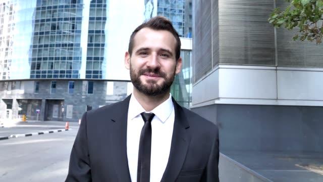 Online Video Chat, Talking Businessman Walking on Street
