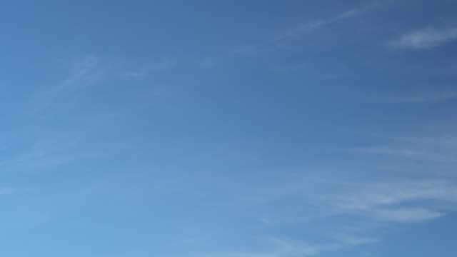 Only summer blue sky with fast moving light thin cirrus clouds. Full HD Time Lapse footage