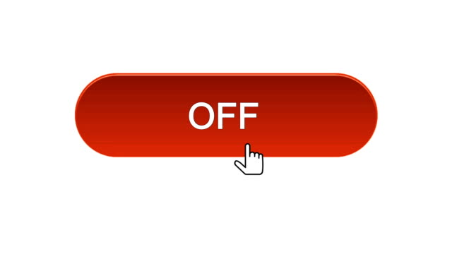On-off web interface button clicked with mouse cursor, different color choice video