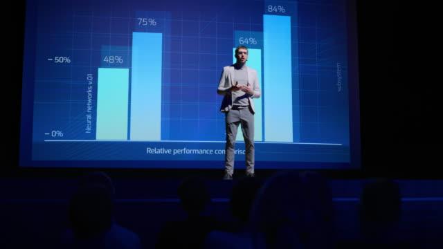 on-stage-sprecher begrüßt publikum, präsentiert technologieprodukt, verwendet fernbedienung für präsentation, anzeigen von infografiken, statistik animation auf großfüßigen bildschirm. live event / start-up konferenz - zuschauerraum stock-videos und b-roll-filmmaterial