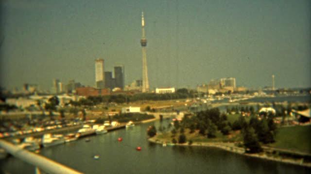 toronto, canada 1975: ontario place amusement park toronto skyline. - toronto stock videos & royalty-free footage