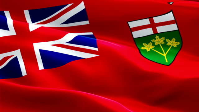 ontario province flag video waving in wind. realistic province flag background. toronto ontario flag looping closeup 1080p full hd 1920x1080 footage. ontario canada provinces country flags footage video news - kiss filmów i materiałów b-roll
