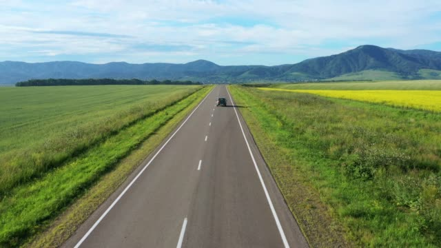 op view of the road and blooming yellow field. On the road going cars. Aero shooting