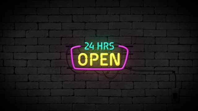 open 24 hours neon sign on brick wall background. business and service concept. - food delivery стоковые видео и кадры b-roll