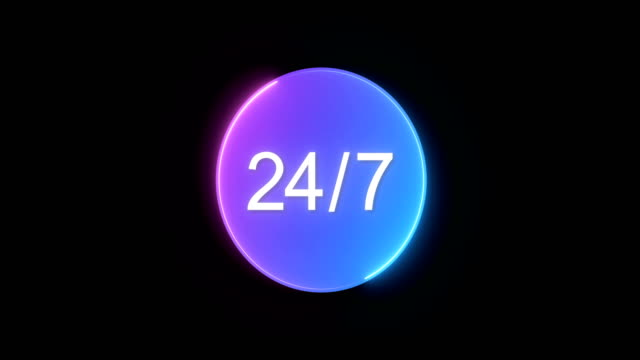 open 24/7 by neon light animation