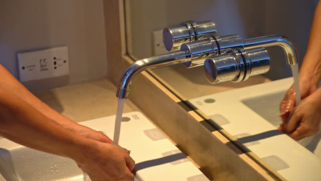 open and close tap or faucet for washing hands