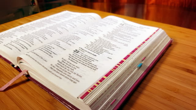 stockvideo's en b-roll-footage met open bijbel traag dolly camerabewegingen 4k - heilig geschrift
