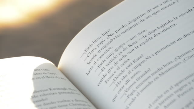 open book in spanish or castilian in a park - letteratura video stock e b–roll