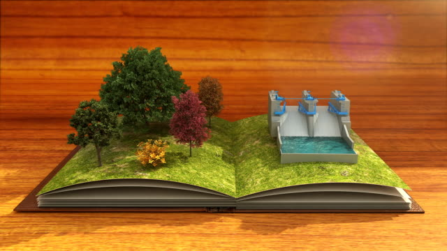 Open book makes water power plant, water dam energy, brown background. video
