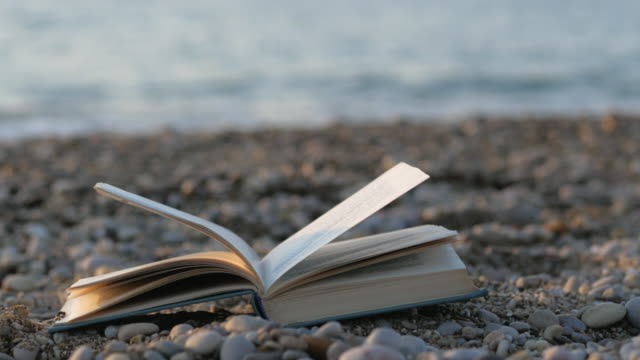 Open book on sea background