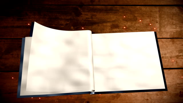 Open book with blank pages Open book with blank pages on wood table with magic sparkles open book stock videos & royalty-free footage