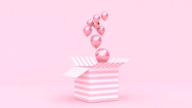 open box balloon levitation 3d rendering motion loopable