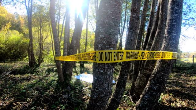 open crime scene - cadavere video stock e b–roll