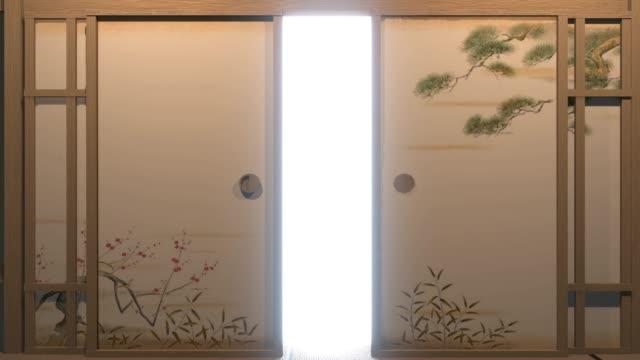 öppna dörrpapper japan style.3d rendering - tradition bildbanksvideor och videomaterial från bakom kulisserna