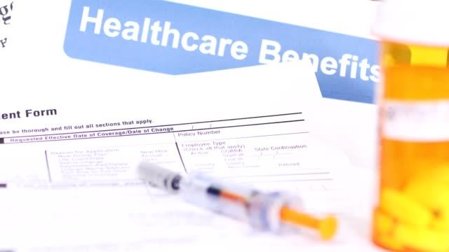 Open enrollment healthcare benefit forms. video