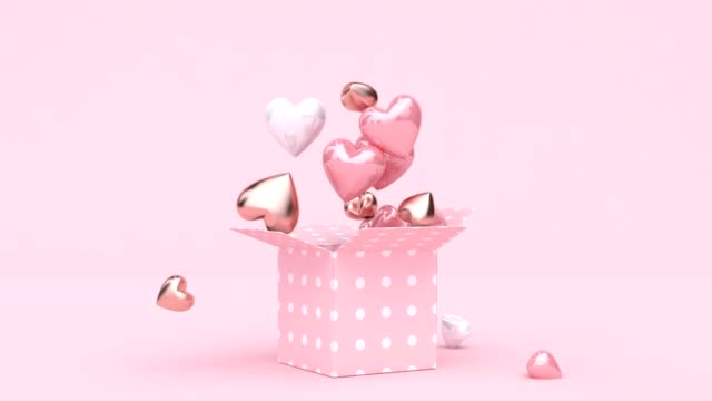 vídeos de stock e filmes b-roll de open gift box many heart shape drop 3d rendering digital motion - comemoração conceito