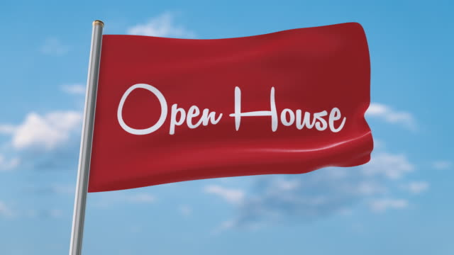 Open house flag waving (luma matte included so you can put your own background)