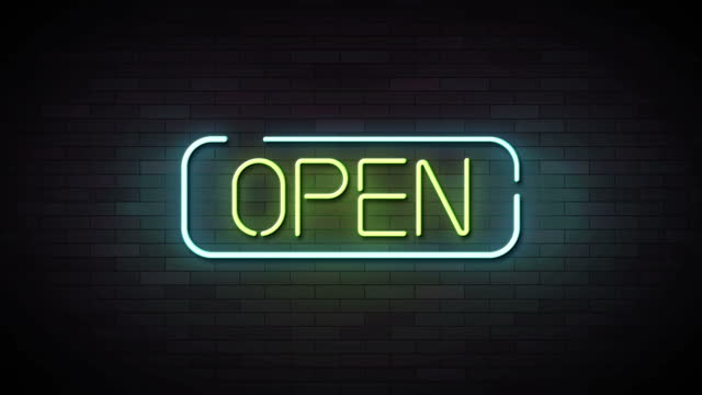 Open Neon Sign Lights animation.4K video.wall background.