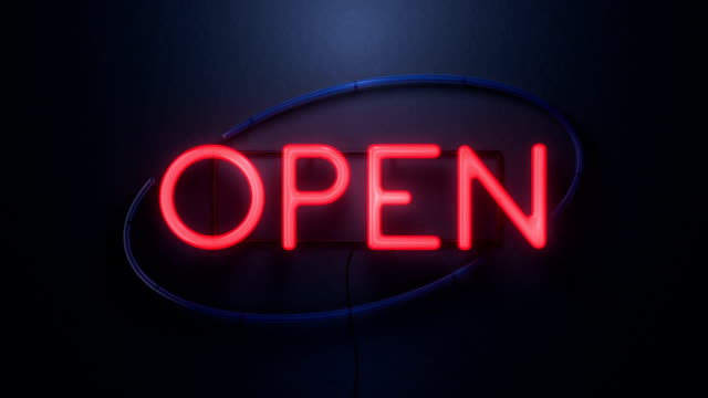 open neon sign looped perspective video